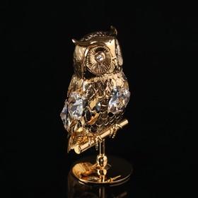 Сувенир «Филин», 4×4×7,5 см, с кристаллами Сваровски
