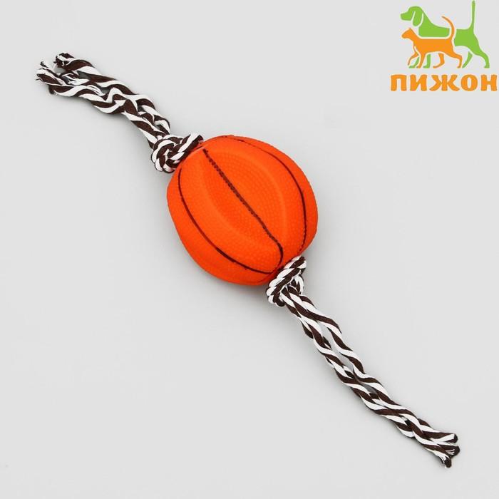 """Игрушка утолщенная на канате """"Баскетбольный мяч"""" для собак, 9 см, микс цветов"""
