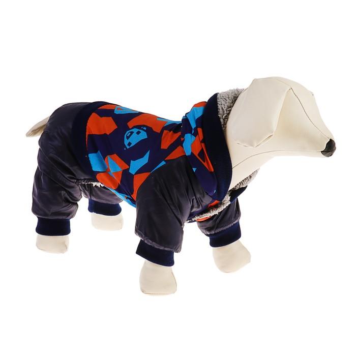 Комбинезон для собак на меховом подкладе с капюшоном, размер L