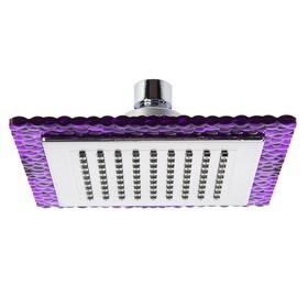 Лейка стационарная, квадратная, 15 х15 см, 1 режим, пластик, цвет фиолетовый/хром