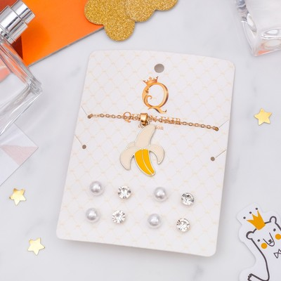 """Headsets 5 items: 4 pairs posset pendant """"Banana"""", color white-yellow gold"""