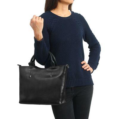 """Сумка женская на молнии """"Симона"""", 2 отдела, 1 наружный карман, длинный ремень, чёрная"""