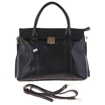"""Сумка женская """"Мишель"""" 2 отделения, на молнии, наружный карман, длинный ремень, черный"""