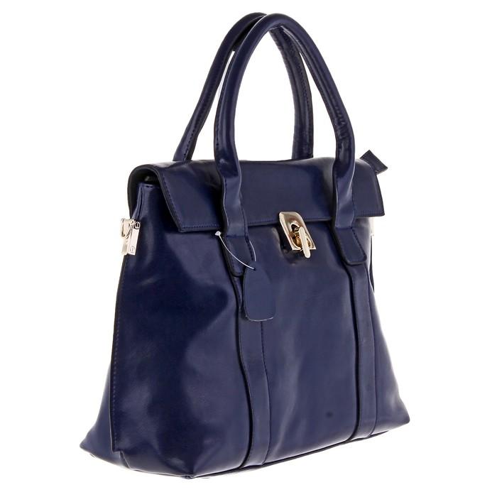 """Сумка женская """"Мишель"""" 2 отделения, на молнии, наружный карман, длинный ремень, темно-синий"""