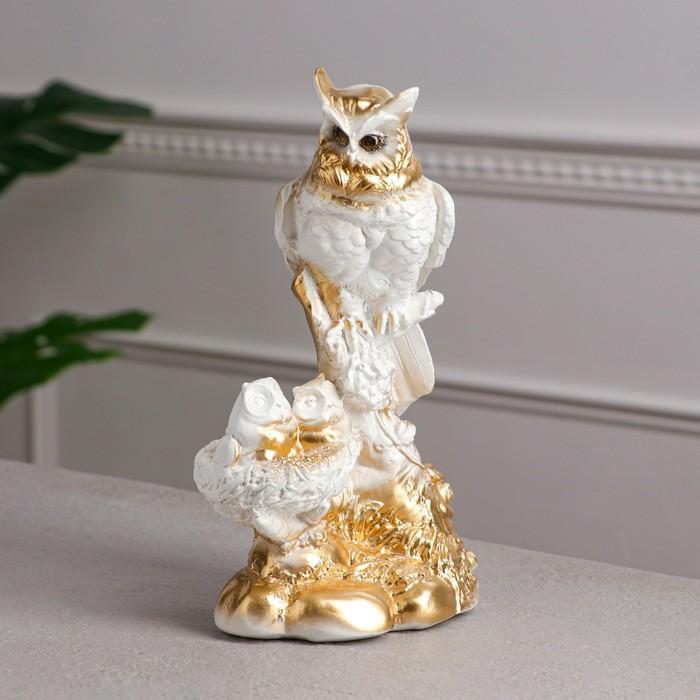 """Сувенир """"Совы семья"""" белая, 26 см - фото 798105807"""