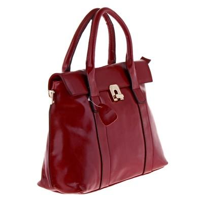 """Сумка женская на молнии """"Мишель"""", 2 отдела, 1 наружный карман, длинный ремень, красная"""