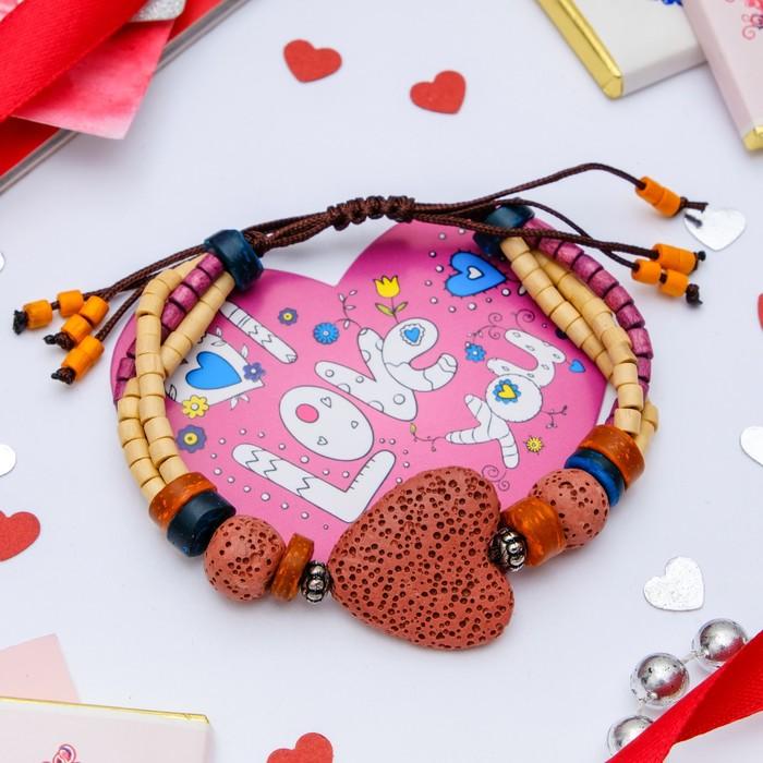 """Набор браслет+открытка, """"Лава"""" сердце, цвет красный"""