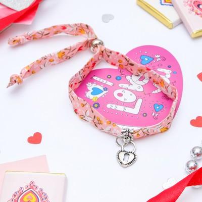 """Набор браслет+открытка, """"Любовь"""" замок, цвет розовый в чернёном серебре"""