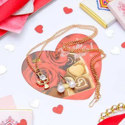 """Set+postcard 2 PR earrings, pendant """"angel"""", white gold, 43cm"""