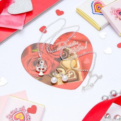 "Set+postcard 2 PR earrings, pendant ""angel"", white silver, 43 cm"