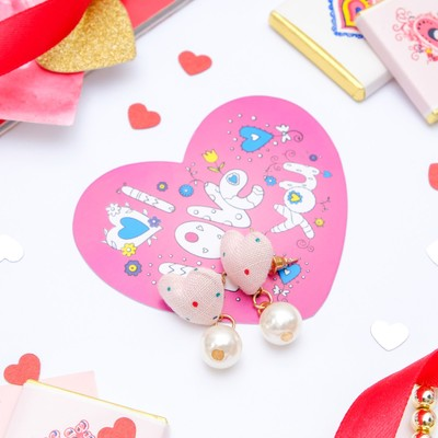 "Set of earrings+card, ""Heart"" Princess, bead, color light pink"