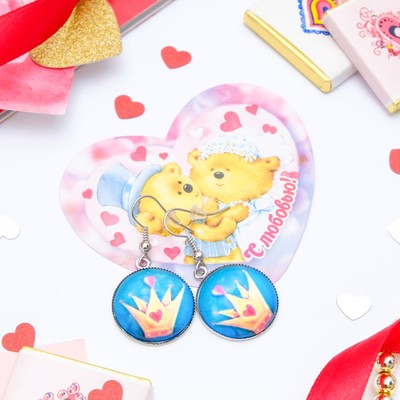 Set of earrings+card, Candy crown, color blue yellow silver