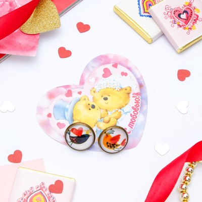 Set of earrings+card, Candy bird lovers, color in blackened gold