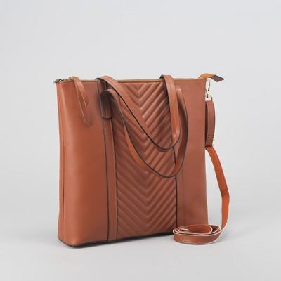 """Сумка женская на молнии """"Стрелочки"""", 1 отдел, 1 наружный карман, длинный ремень, коричневая"""