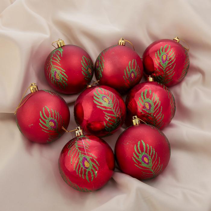 """Новогодние шары """"Перья павлина"""" (набор 8 шт.)"""