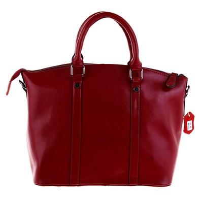 """Сумка женская """"Две строчки"""" 1 отделение, 2 наружных кармана, длинный ремень, темно-красный"""