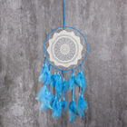 """Ловец снов с кружевом """"Эклектика"""" голубой d=20 см длина 47 см"""