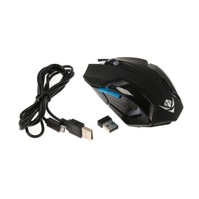 Мышь Nakatomi MROG-20UR Gaming, игровая, беспроводная, аккумуляторная, USB, чёрная