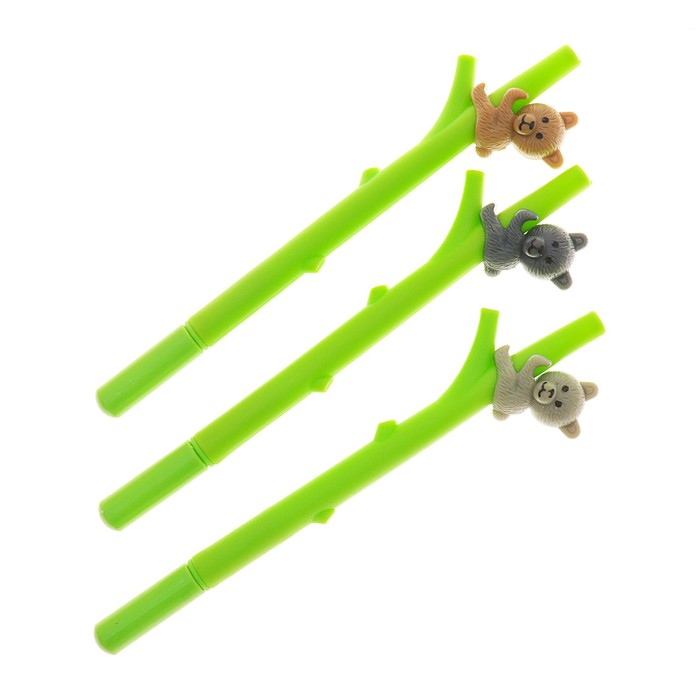 Ручка шариковая-прикол, «Мишка на бамбуке», МИКС