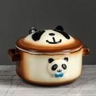 """Горшок для запекания """"Панда"""" коричневый 0,35 л"""
