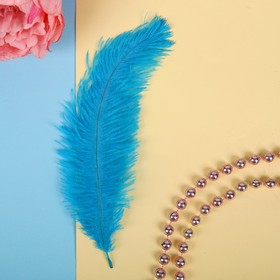 Перо для декора, размер 24 см, цвет бирюзовый