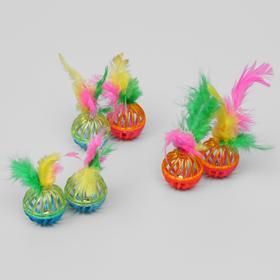 """Набор из 2 шариков """"Завитушки с пером"""", каждый 4 см, микс цветов"""