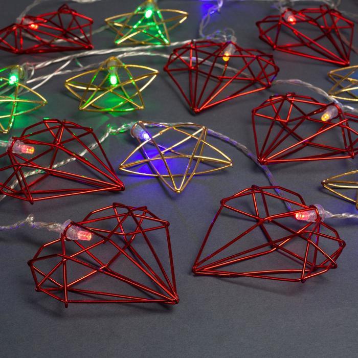 """Гирлянда """"Нить"""" 4 м с насадками """"Звезда и сердце"""", IP20, прозрачная нить, 20 LED, свечение мульти, 8 режимов, 220 В"""