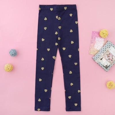 """Легинсы для девочки MINAKU """"Золотые сердечки"""", рост 86-92 см, цвет тёмно-синий"""