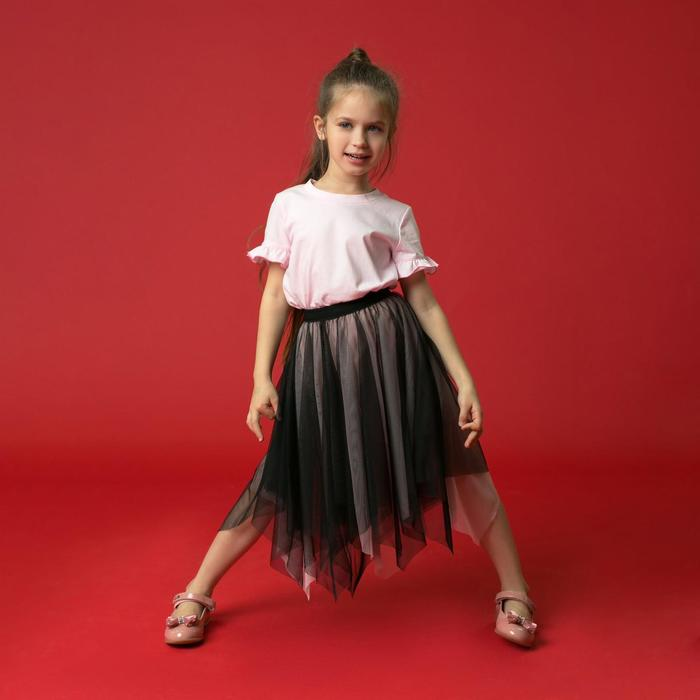 """Юбка для девочки """"Волшебство"""", рост 104-110 см, цвет чёрный/розовый - фото 725219653"""