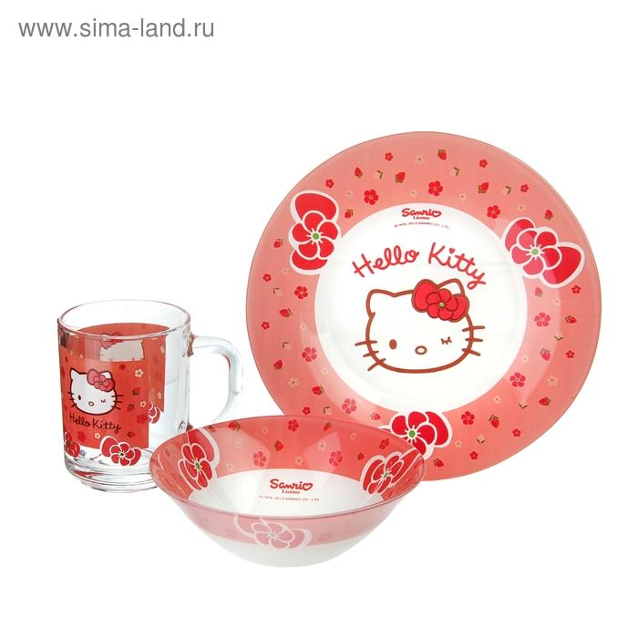 Набор детской посуды Hello Kitty, 3 предмета: кружка 250 мл, салатник 125 мм, тарелка 195 мм