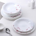 """Набор тарелок """"Васильки"""", 18 предметов: 6 тарелок 26 см, 6 тарелок 21,5 см, 6 тарелок 19 см"""