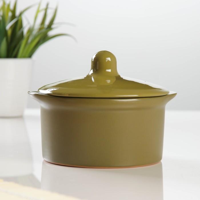 Кастрюля керамическая №3 0,5л оливковая