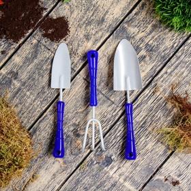 Набор «Фиалка», 3 предмета: рыхлитель, широкий совок, узкий совок, пластиковые ручки Ош
