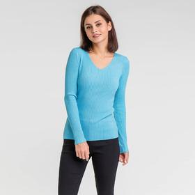 Pullover with lurex lace up back, size 42 color blue