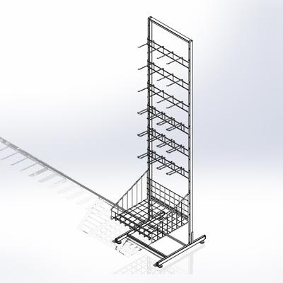 Стойка прикассовая основа 44 см, с 4-штыревой гребенкой и крючками