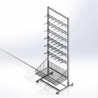 Стойка прикассовая основа 640мм, с 6-штыревой гребенкой и крючками
