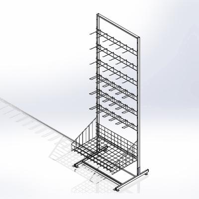 Стойка прикассовая основа 64 см, с 6-штыревой гребенкой и крючками