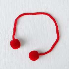 A decorative element on a string 2 balls, d= 1.5 cm, set of 6 PCs, red