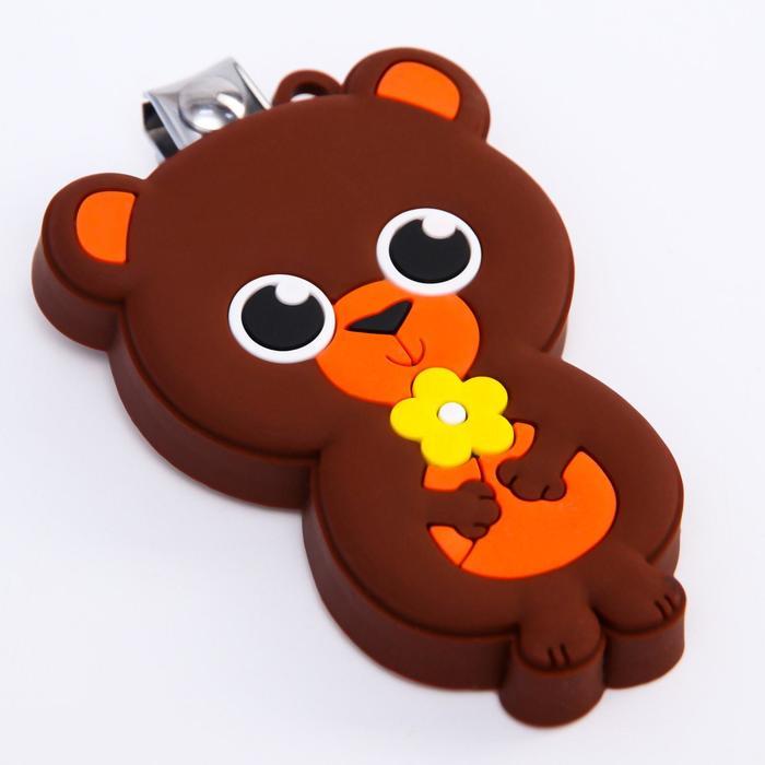 Детские, маникюрные щипчики - книпсеры «Мишка» с резиновой игрушкой