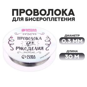 Проволока для бисероплетения D= 0,3 мм, длина 30 м, цвет серебрянный