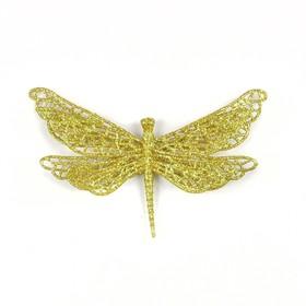 Стрекоза объёмная с блестками 16 х 10 см, набор 6 штук, золото