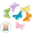Бабочки перьевые на прищепке «Бархатница», 7 см, набор 12 штук