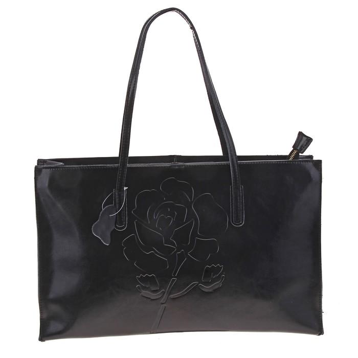 """Сумка женская """"Роза"""" 2 отделения, наружный карман, черный"""
