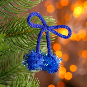 A decorative element on a string 2 balls with glitter, d= 2 cm, set of 8 PCs, blue color