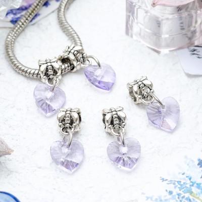 """Подвеска """"Сердце"""" льдинка, цвет фиолетовый в серебре"""