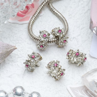 """Разделитель """"Цветы"""", цвет розовый в серебре"""