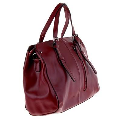 """Сумка женская """"Каролина"""" 2 отделения, наружный карман, длинный ремень, темно-красный"""