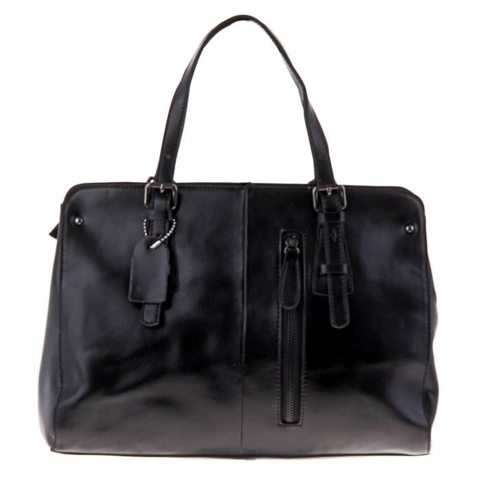 """Сумка женская """"Каролина"""" 2 отделения, наружный карман, длинный ремень, черный"""