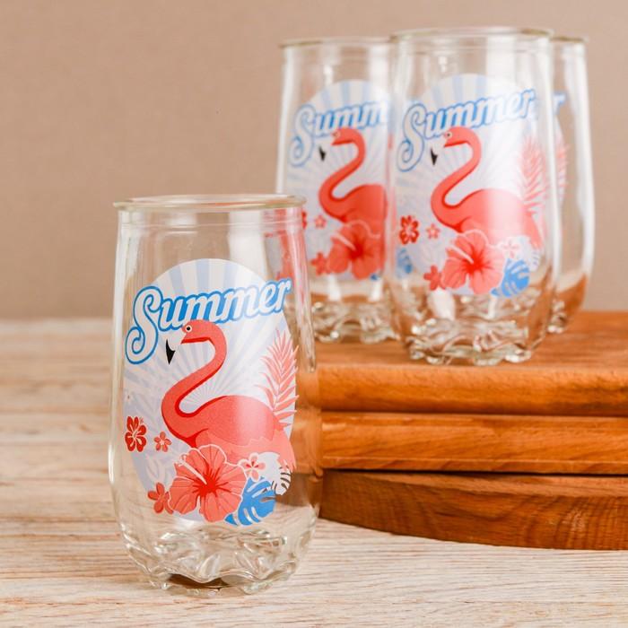 """Набор посуды """"Фламинго"""" кувшин 1 л, 4 стакана 300 мл"""