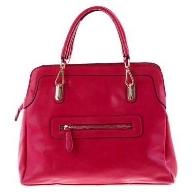 """Сумка женская """"Лора"""" 2 отделения, наружный карман, длинный ремень, ярко-розовый"""